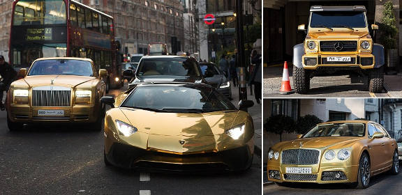 Arab Billionaire Flies gold plated Luxury Cars to London for Holiday (See Photos)
