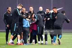 xxxx during a Barcelona training session ahead of the UEFA Champions League round of 16 second leg match between Barcelona and Arsenal at Ciutat Esportiva on March 15, 2016 in Barcelona, Spain.