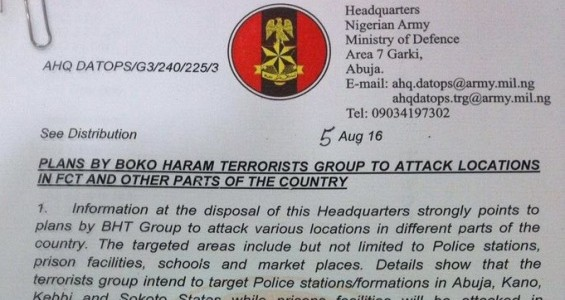 Nigerian Army Alerts Plots by Boko Haram to Attack Abuja, Imo, Yobe and others