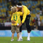 Neymar Romances Son as he Celebrates Historic Olympic Gold Medal Victory (Photos)