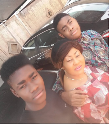 Actress Ngozi Ezeonu Pictured with her two Sons