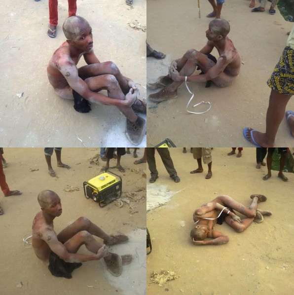 Abia Poly Student Mobbed & Beaten for stealing a Generator (See Photos)