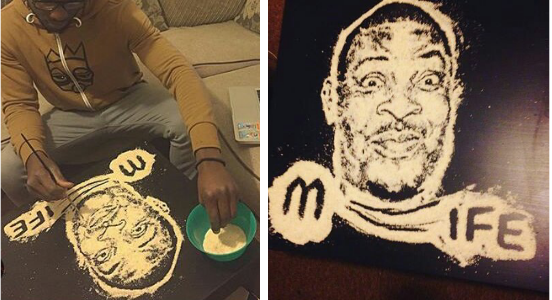 Talented Nigerian Artist Creates Portrait of Don Jazzy with Garri (Must See Photos)