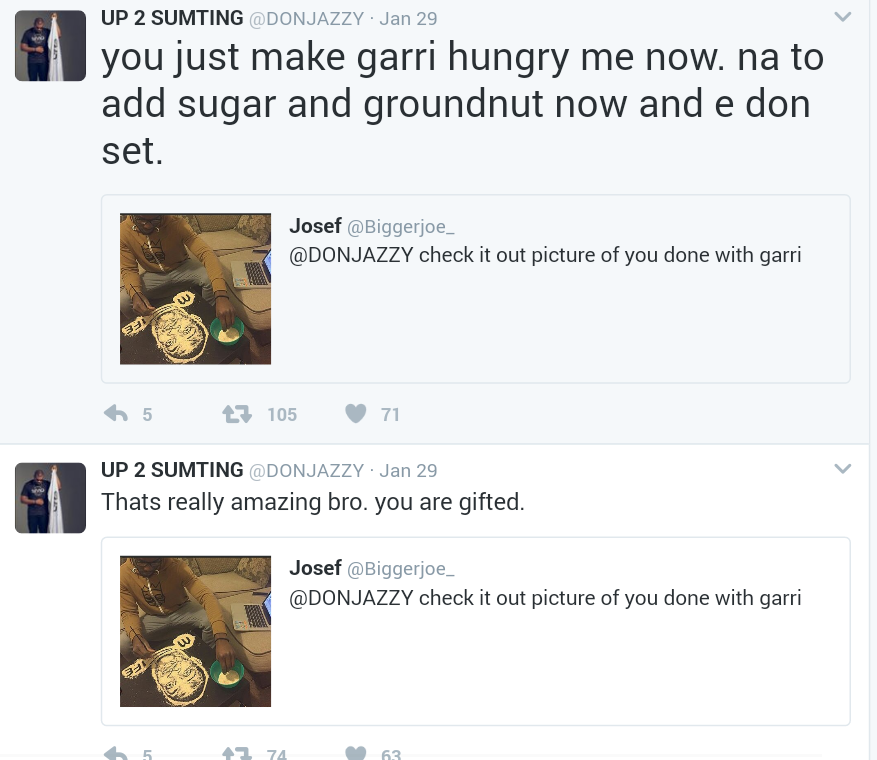 Talented Nigerian Artist Creates Portrait of Don Jazzy with Garri