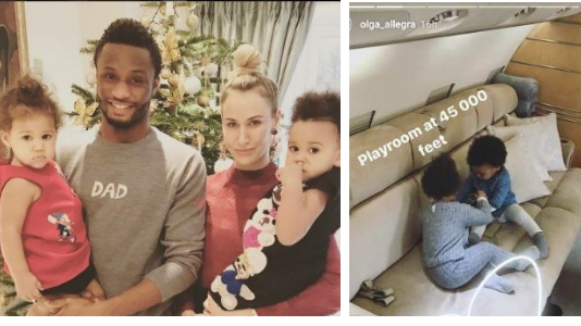 Mikel Obi's Russian Girlfriend Olga Shares New Photos of their Twin Girls on a Private Jet (See Photos)