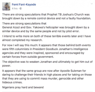 """T.B Joshua's Church Was Bombed by Same Forces After Apostle Suleman"" - Femi Fani Kayode Reveals (A Must See)"