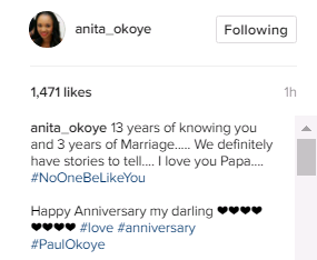 Paul Okoye of Psquare and wife, Anita celebrates 3rd wedding Anniversary with Sweet words & Photos