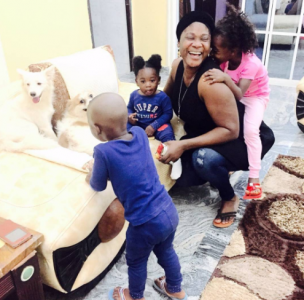 Mercy Johnson Shares Beautiful Photo Of Herself With Her Kids And The Family's Dogs