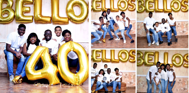 """""""Bellos"""" Funke Akindele, her Husband and Step Children Stuns in Family Pictures as JJC Skillz turns 40 (See Photos)"""