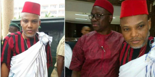 Nnamdi Kanu granted Bail, Gov. Fayose Seen in Court, FFK barred from entering (See Photos)
