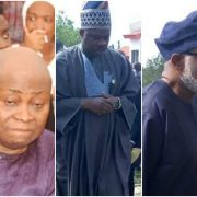 Davido's dad, Adedeji Adeleke, Gov. Rotimi Akeredolu, his Ogun state counterpart Ibikunle Amosun at the burial of Isaka Adeleke