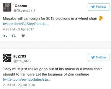Twitter Users Ridicule President Mugabe Who's Allegedly Ruling from a Wheelchair