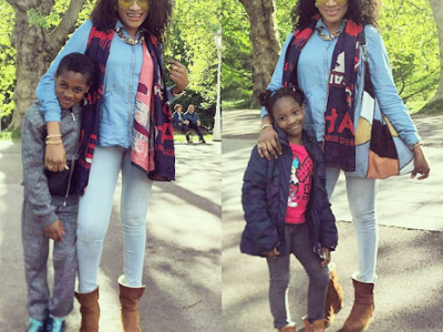 Oge Okoye Rocks denim on denim for Outing with her kids (See Photos)