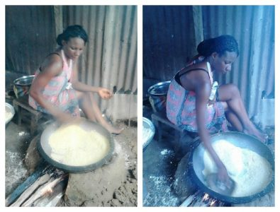 'Real girls do real things!' - Pretty Nigerian Lady shares Photos of herself Frying garri