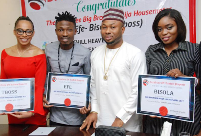 BBNaija: Efe, TBoss and Bisola get plots of land in Abuja from Tonto Dikeh's husband (See Photos)