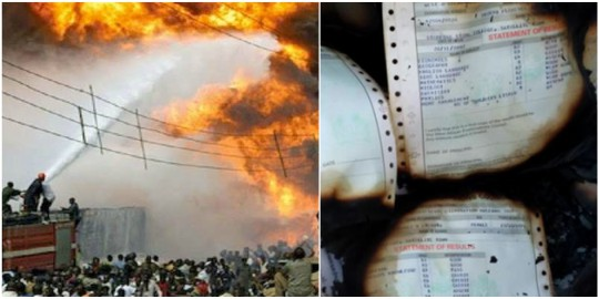 So sad, on Baby, WASSCE results burnt in fire incident in Lagos (photos)