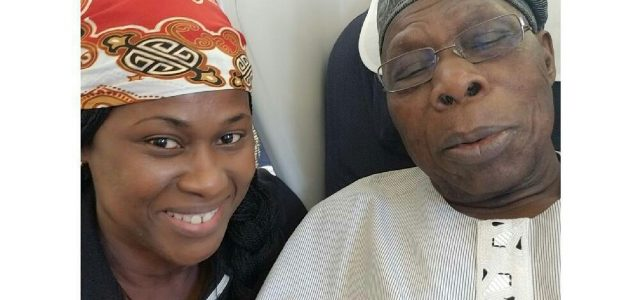 Uche Jombo And Olusegun Obasanjo Pictured On A Plane Together