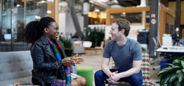 Mark Zuckerberg meets with Lola Omolola, founder of Females In Nigeria, a Nigerian Facebook Group