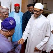 Photos of President Buhari, his wife and the 6 PDP Governors who visited him today in London