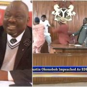 Edo State lawmakers beat each other up as the Speaker Dr. Justin Okonoboh is impeached
